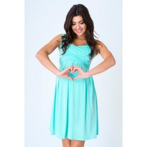 Letné tehotenské šaty tyrkysovej farby