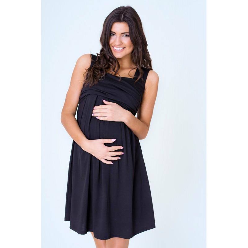 Letné šaty po kolená čiernej farby pre tehotné ženy - fashionday.eu edfc7773558