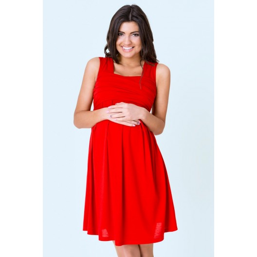 Elegantné tehotenské šaty červenej farby