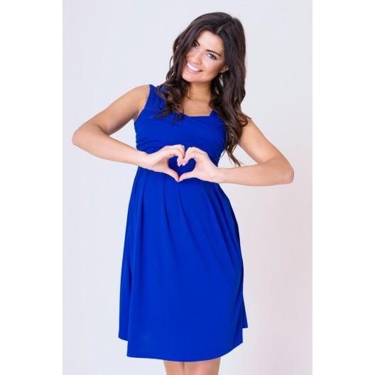 Letné šaty s ramienkami pre tehotné modrej farby