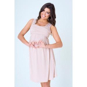 f355f0553ee0 Béžové tehotenské šaty večerné po kolená