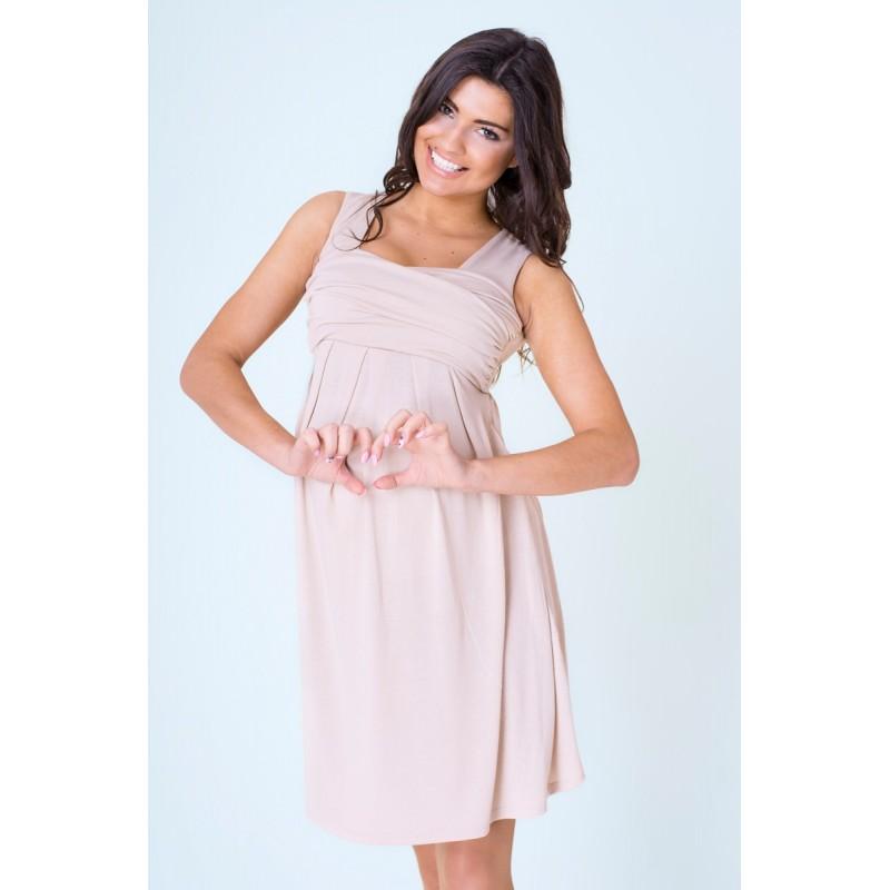 Béžové tehotenské šaty večerné po kolená - fashionday.eu 587d24543e1