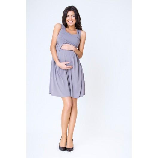 Tehotenské šaty letné grafitovej farby