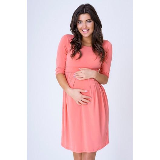 Luxusné tehotenské šaty v ružovej farbe