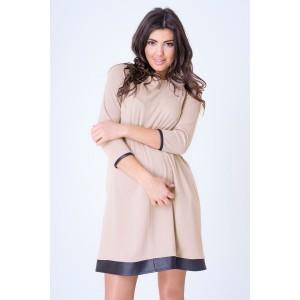 Letné šaty béžovej farby pre tehotné ženy s 3/4 rukávmi