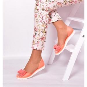 Oranžové dámske sandále s mašľou