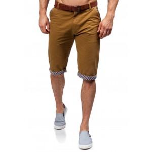 Pánske krátke nohavice karamelovej farby so vzorovaným lémovaním