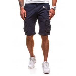 Letné pánske šortky modrej farby s vreckom na boku na zips