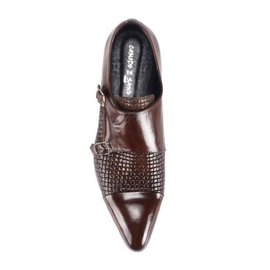 Pánske kožené extravagantné topánky tmavohnedej farby COMODO E SANO