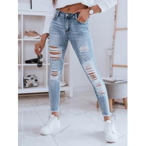 Moderné dámske modré potrhané džínsy