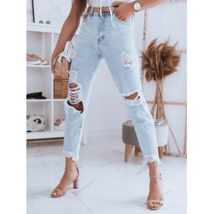 Štýlové svetlo modré letné dámske džínsy s dierami