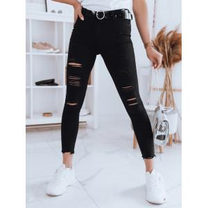 Štýlové dámske čierne obtiahnuté džínsy s dierami