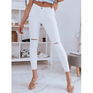 Letné dámske biele obtiahnuté džínsy s dierami