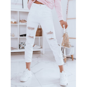 Trendy dámske biele džínsy s módnymi dierami