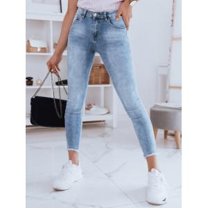 Dámske svetlo modré džínsy s módnymi strapcami