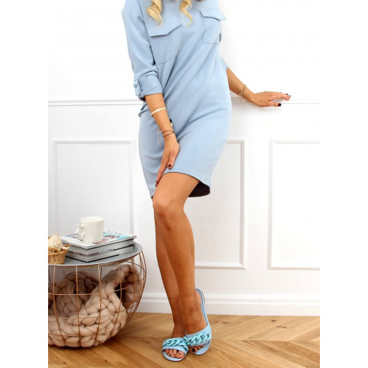 Moderné dámske modré šľapky s rovnou špičkou a retiazkou