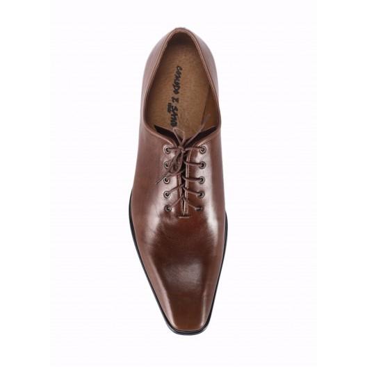 Hnedé spoločenské pánske kožené topánky COMODO E SANO