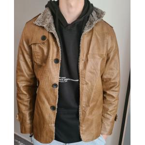 Pánska prešívaná kožená bunda v čiernej farbe