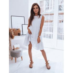 Sivé dámske bodkované oversize šaty