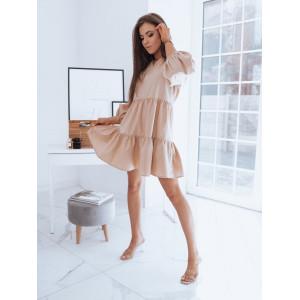 Béžové dámske oversize šaty s dlhým rukávom
