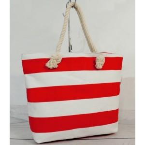 Dámska plážová taška bielo červenej farby