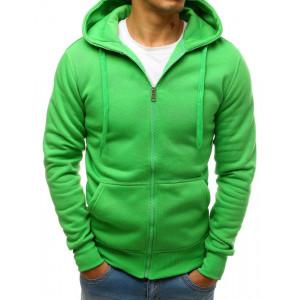 Jednofarebná pánska zelená mikina s kapucňou a zapínaním na zips