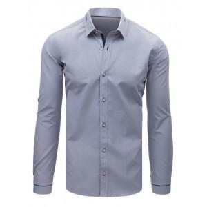 VEĽKOSŤ 3XL SKLADOM Luxusná pánska košeľa sivej farby s dlhým rukávom