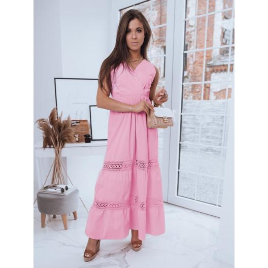 Ružové dámske dlhé letné šaty s čipkou