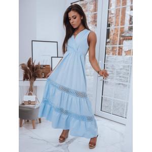 Moderné dámske modré maxi šaty s čipkou