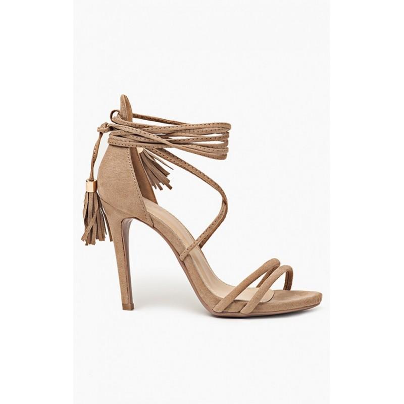 Štýlové dámske sandále na vysokom podpätku v hnedej farbe ... c64d5231b2a