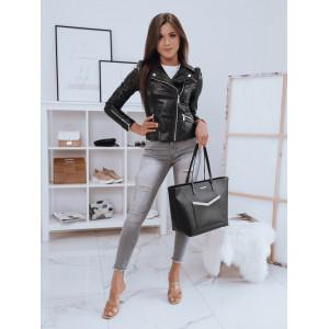 Štýlová dámska čierna kožená bunda so striebornými zipsami
