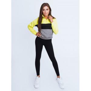 Limetkovo žltá dámska mikina s módnym stand up golierom na zips