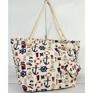 Dámska plážová kabelka s námorníckym motívom