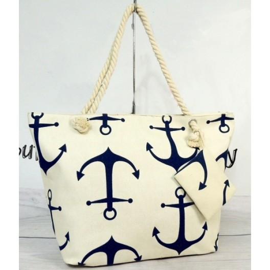 Biela dámska plážová taška s motívom kotvy