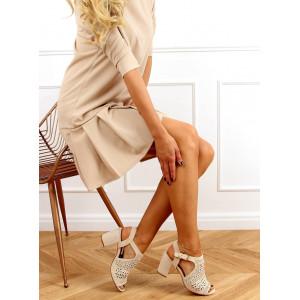 Štýlové béžové dámske sandále na podpätku