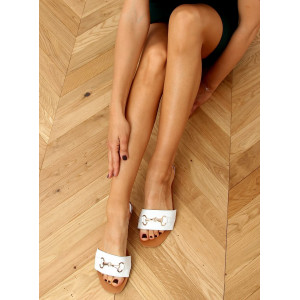Elegantné dámske biele šľapky