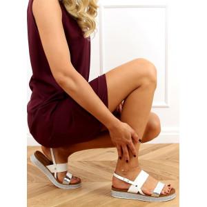 Biele dámske sandále na zdobenej podrážke