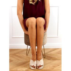 Béžové jednofarebné dámske šľapky