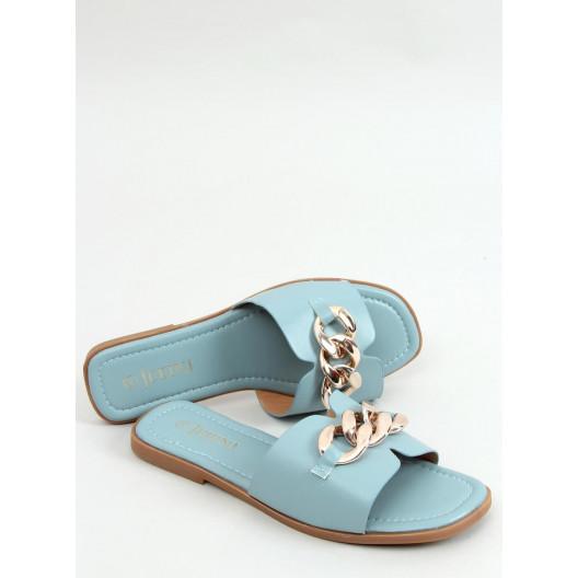 Moderné dámske modré šľapky so zlatou reťazou