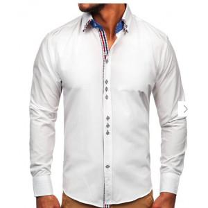 VEĽKOSŤ M SKLADOM Biela spoločenská pánska košeľa s károvaným vzorom
