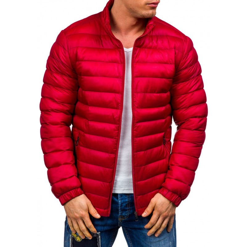 Prešívaná pánska prechodná bunda červená - fashionday.eu 719190644fc