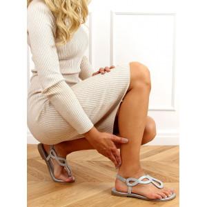 Dámske semišové sandále s lesklou aplikáciou