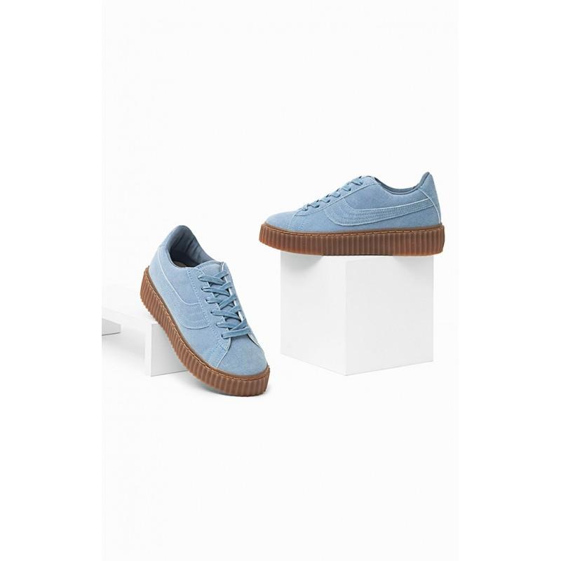 Športové tenisky modrej farby s hnedou podrážkou - fashionday.eu 98ef5579490