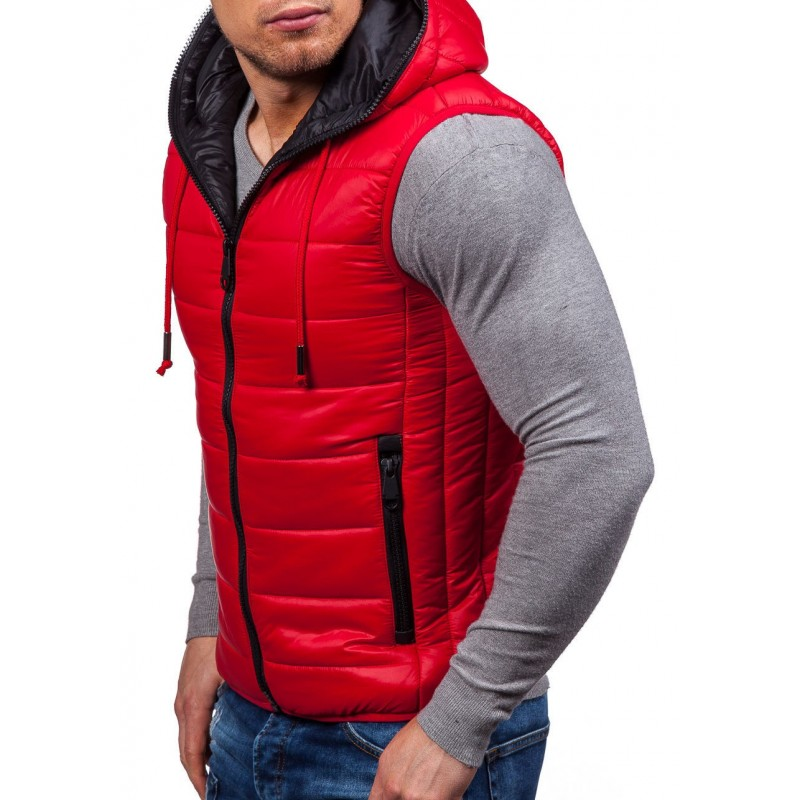 Červená pánska vesta s vreckami a kapucňou - fashionday.eu 12f0a599902