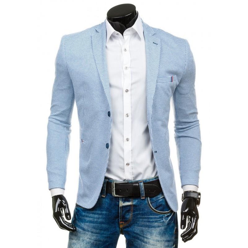 c60fa1f885 Svetlo modré pánske sako kárované - fashionday.eu