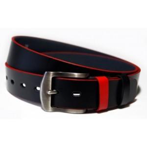 Čierne opasky pánske s červeným lemovaním