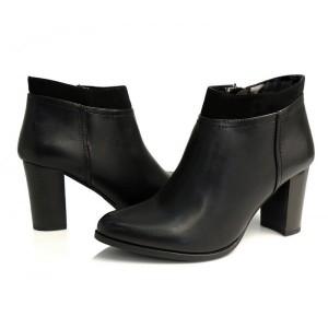 Luxusné členkové topánky pre dámy v čiernej farbe so zapínaním na boku
