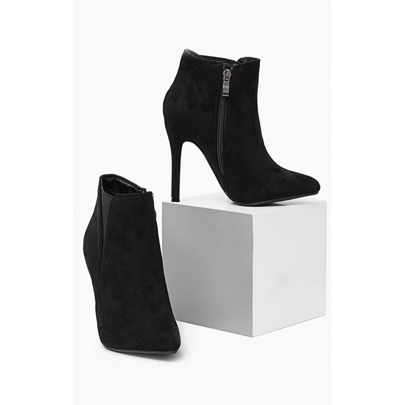 5546cb338 Dámska členková obuv čiernej farby na vysokom podpätku - fashionday.eu