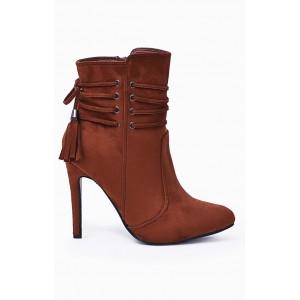 Členkové dámske prechodné topánky hnedej farby