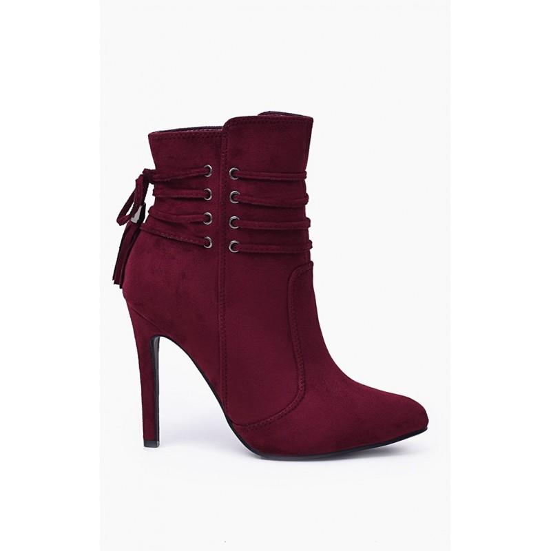 6625ec2d8 Predchádzajúci. Jesenná dámska kotníková obuv bordovej farby na vysokom  podpätku ...